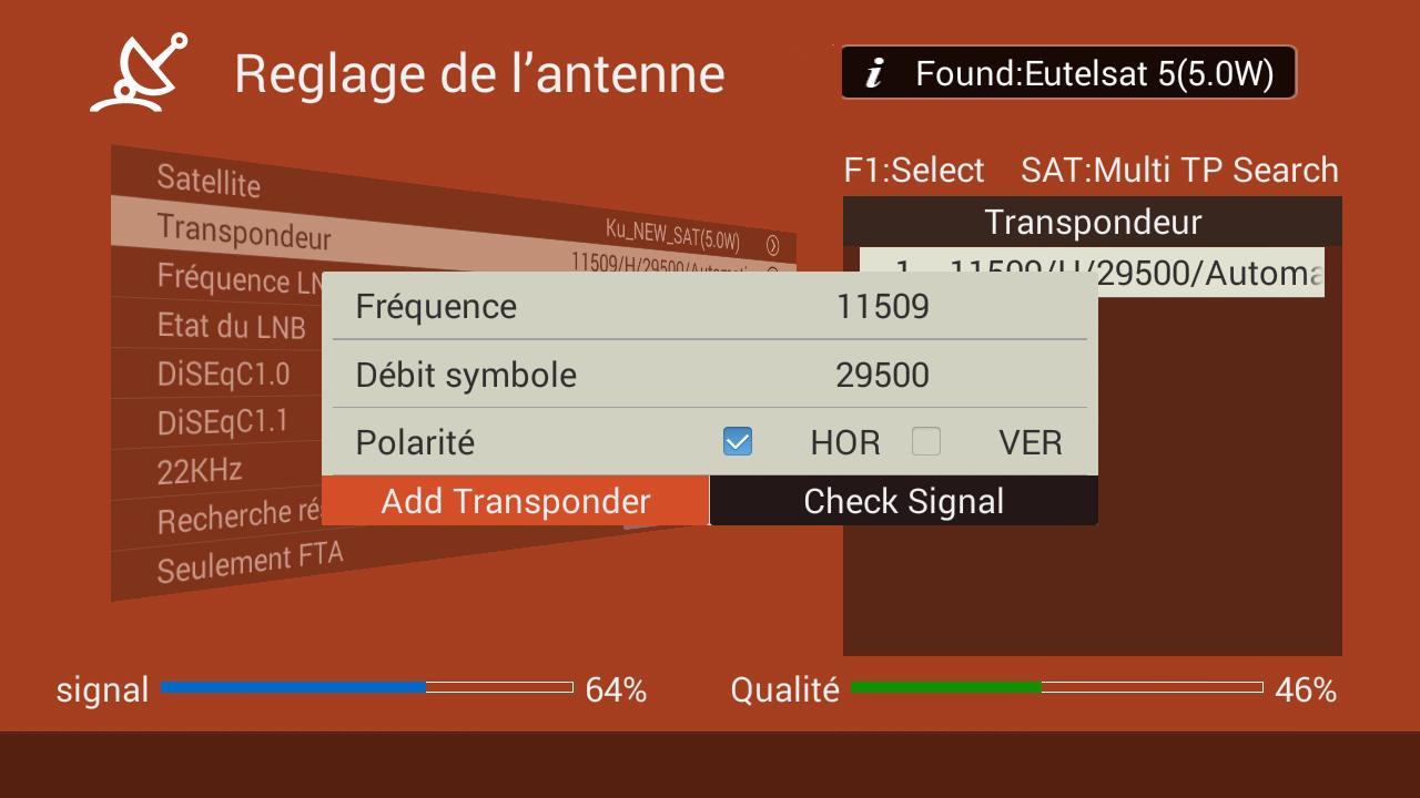 اضافة ترددات الباقة الفرنسيه multistream على القمر eutelsat 5 west a 5.0°w