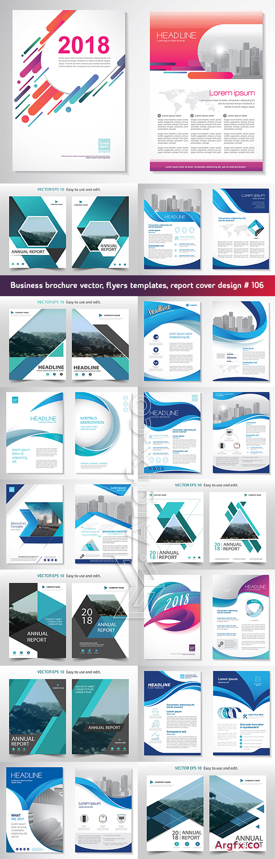 Business brochure vector, flyers templates, report cover design # 106